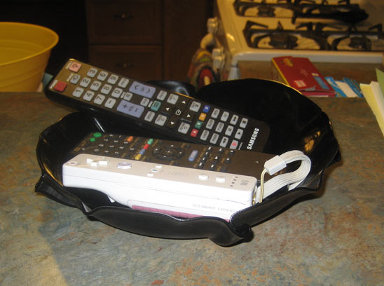 Record Bowl holding remotes